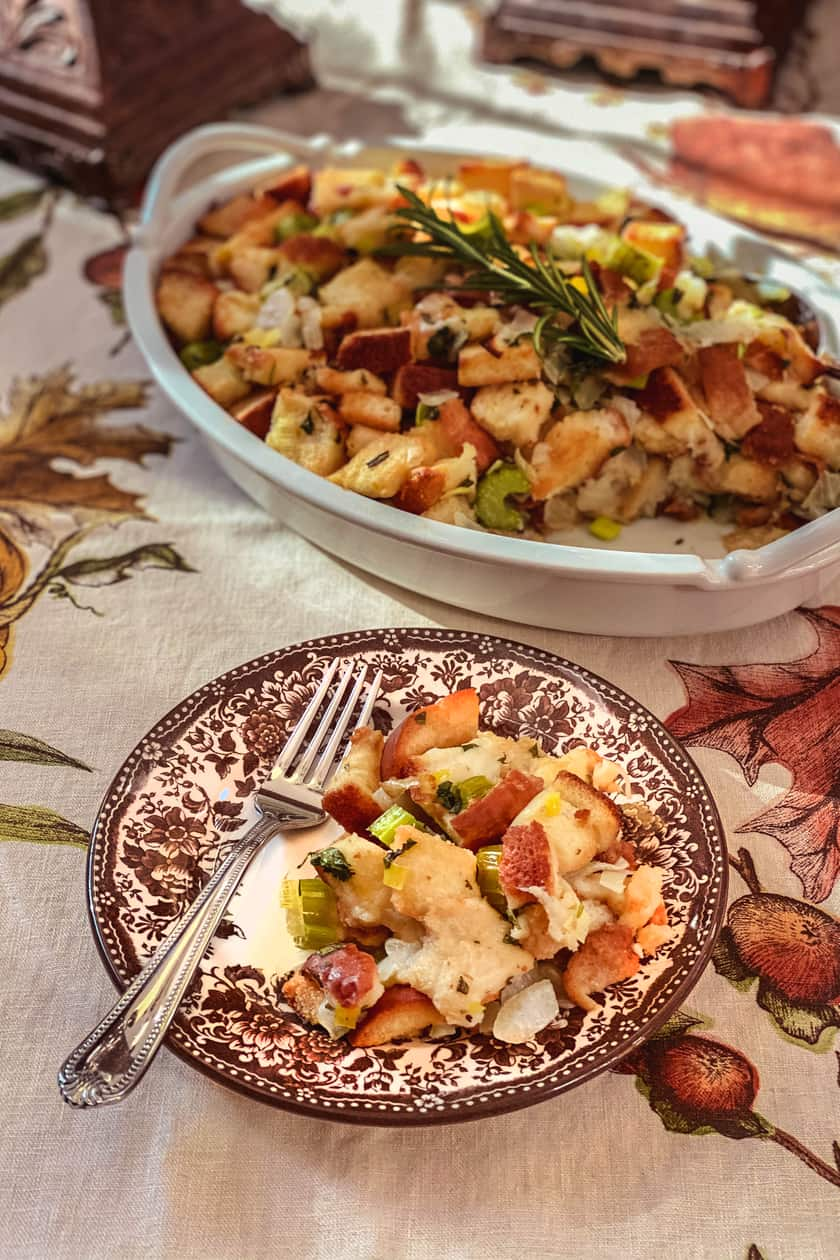 Classic Stuffing on a Brown Transferware Plate