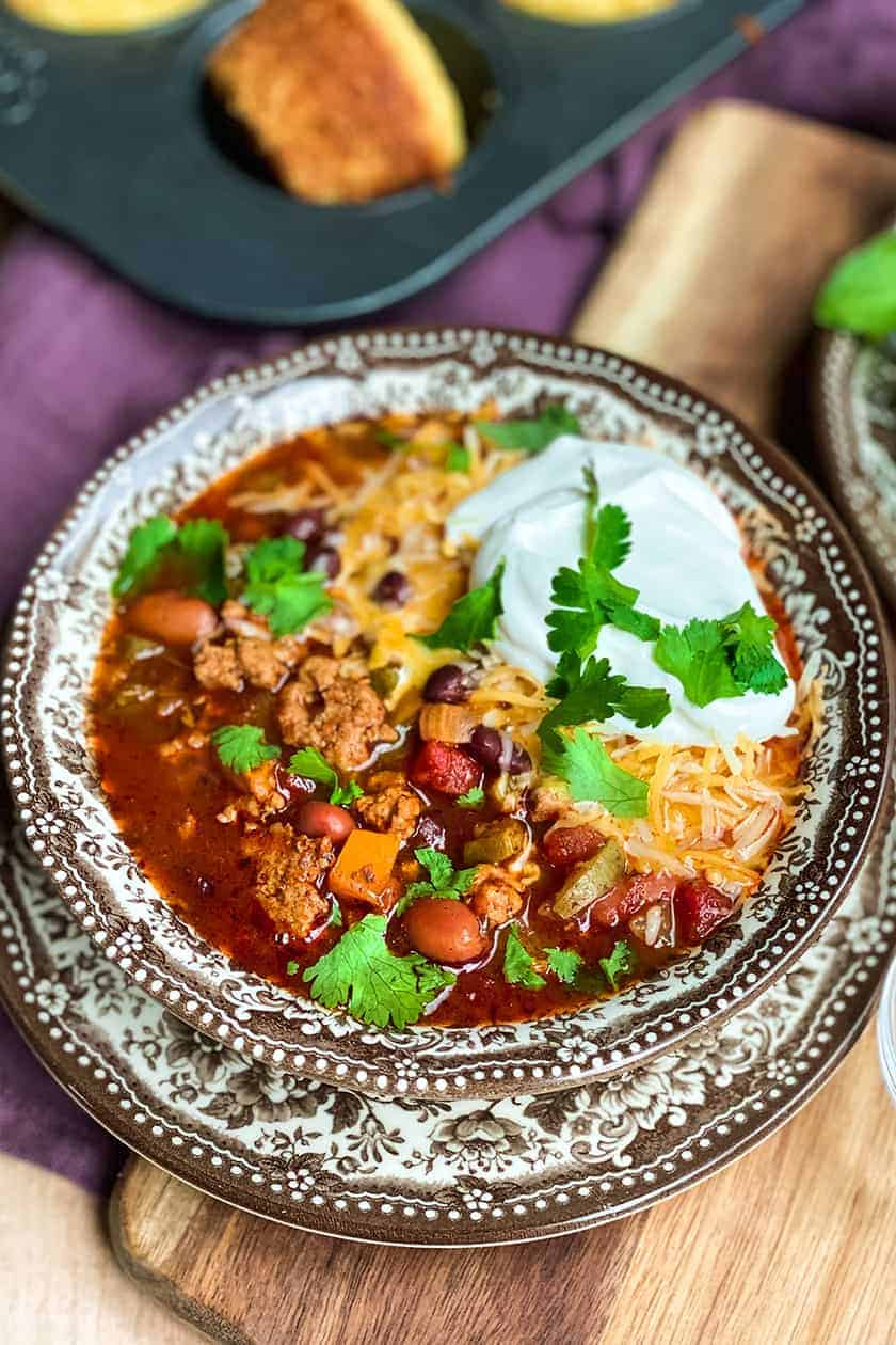 Closeup of a bowl of Instant Pot turkey chili
