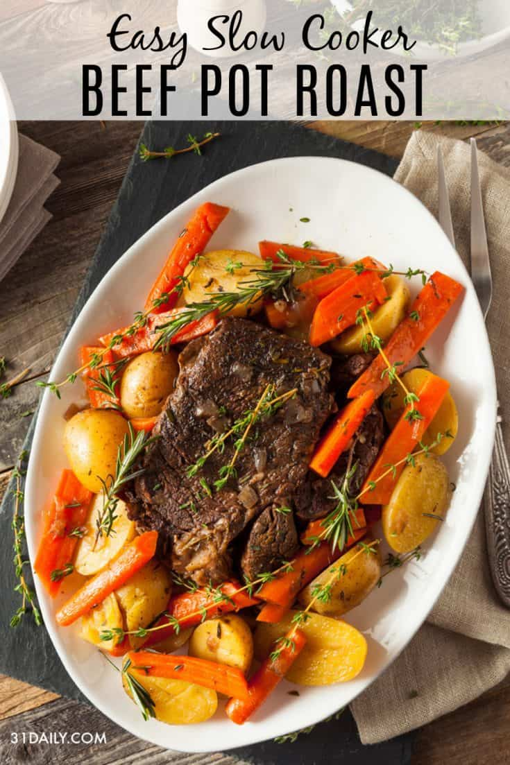 A fork-tender Slow Cooker Beef Pot Roast that is juicy, and incredibly flavorful. A simple and easy yet delicious meal to come home to. Slow Cooker Beef Pot Roast | 31Daily.com #slowcooker #potroast #onepot #beef #vegetables #weeknight #sundaysupper #sundayslowcooker #31Daily