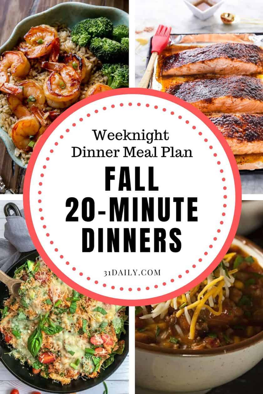 Pinterest Pin Fall 20 Minute Dinners