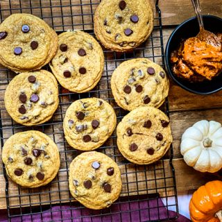 Pumpkin Butter Chocolate Chip Cookies Cooling on a Rack