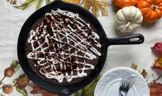 overhead view of a skillet brownie with maple glaze
