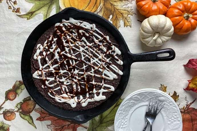 Easy Fudgy Skillet Brownie with Maple Glaze