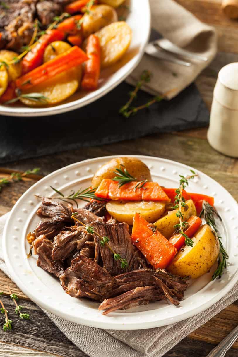 white bowl of beef pot roast
