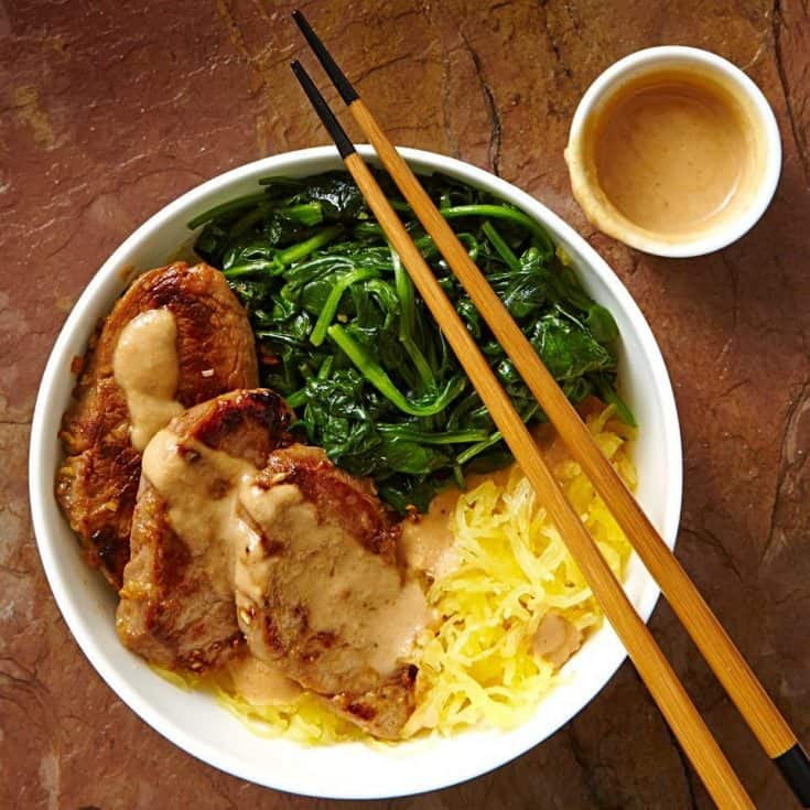 Tuesday: Lemongrass Pork & Spaghetti Squash Noodle Bowl with Peanut Sauce