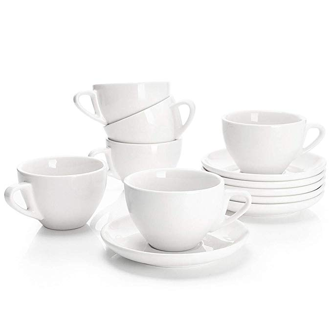 Set of 6 Porcelain Cappuccino and Tea Cups with Saucers