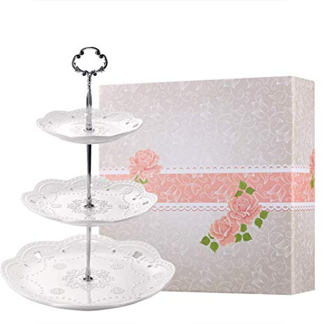 3-Tier Porcelain Embossed Afternoon Tea Server with Gift Box