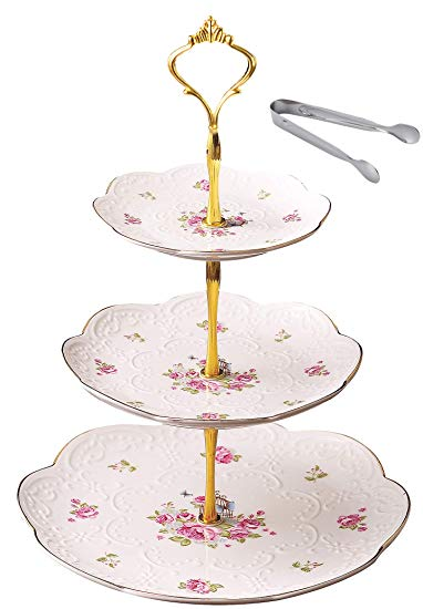 Elegant Embossed 3-tier Ceramic Afternoon Tea Server in Gift Box with Sugar Tong