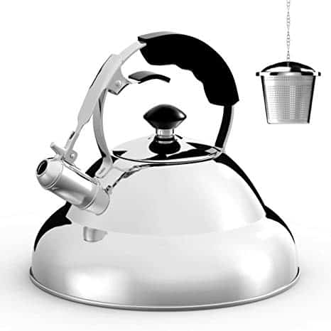 Stainless Steel Whistling Teapot, 2.75 Quart with Strainer