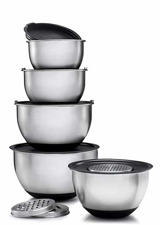 Stainless Steel Mixing Bowls Set of 5, with Lids and 3 kinds of graters