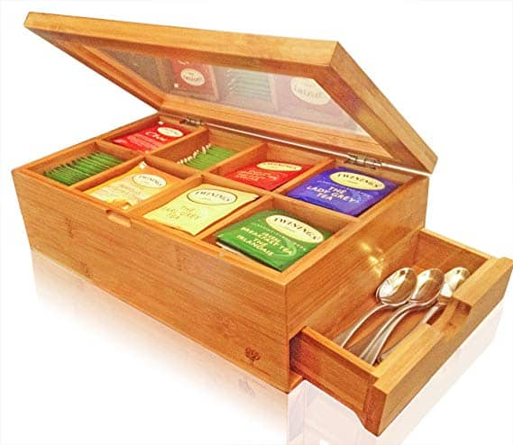 SOLID 100% BAMBOO Tea Box Natural Chest