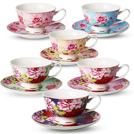 Set of 6 Porcelain Floral Tea Cup Set