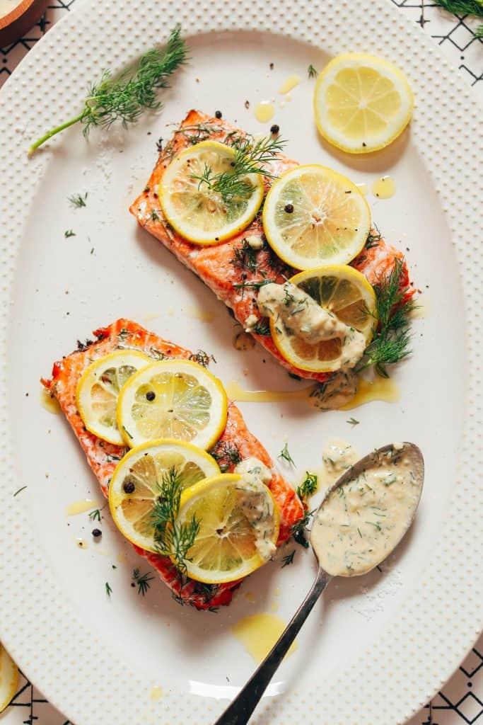 Monday: Lemon Baked Salmon with Garlic Dill Sauce