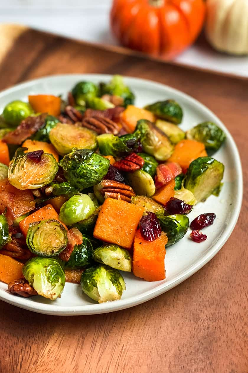 Closeup of cooked Roasted Butternut Squash and Brussels Sprouts