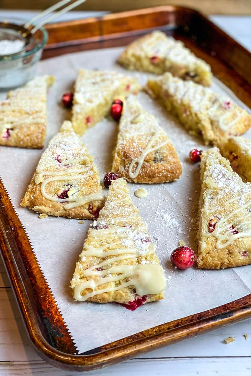 Wedges of Cranberry Scones on a Baking Sheet