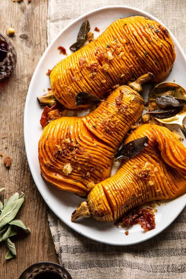 Hasselback Butternut Squash with Sage Butter and Prosciutto Breadcrumbs.