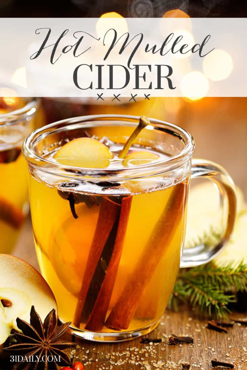Pinterest Pin with Glass Mug of Hot Mulled Cider
