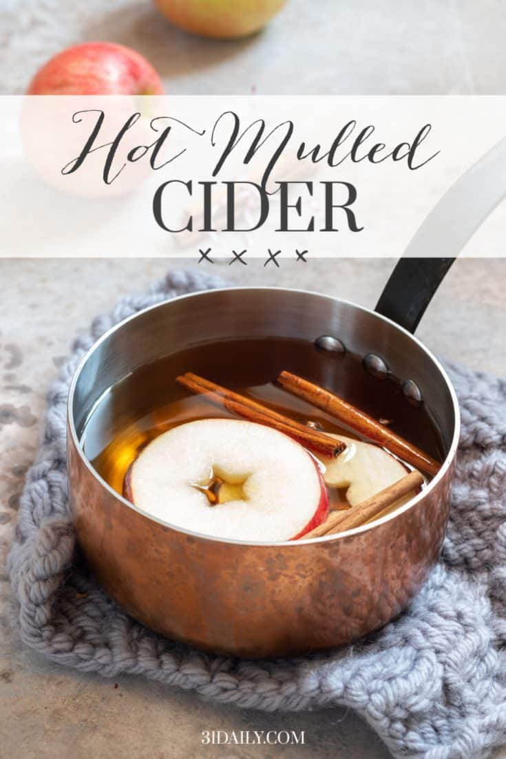 The scent of the holidays -- Hot Mulled Cider. One of my favorite, easy -- and even delicious ways to greet guests -- and serve them too! All season long! Recipe on the blog. Hot Mulled Cider: A Perfect Holiday Beverage #cider #holidays #christmas #thanksgiving #apples #beverages #holidaybeverages #31Daily