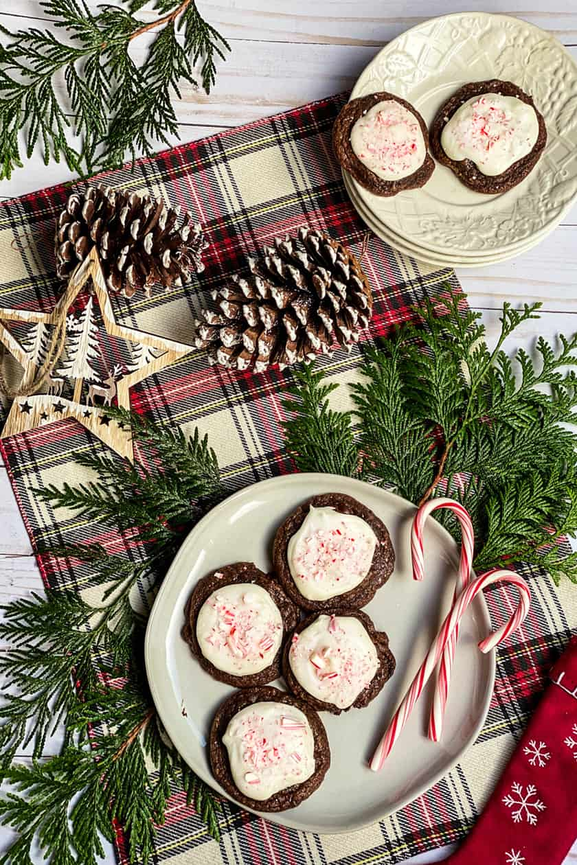 Peppermint Mocha Cookies on a White Plate with Ornaments