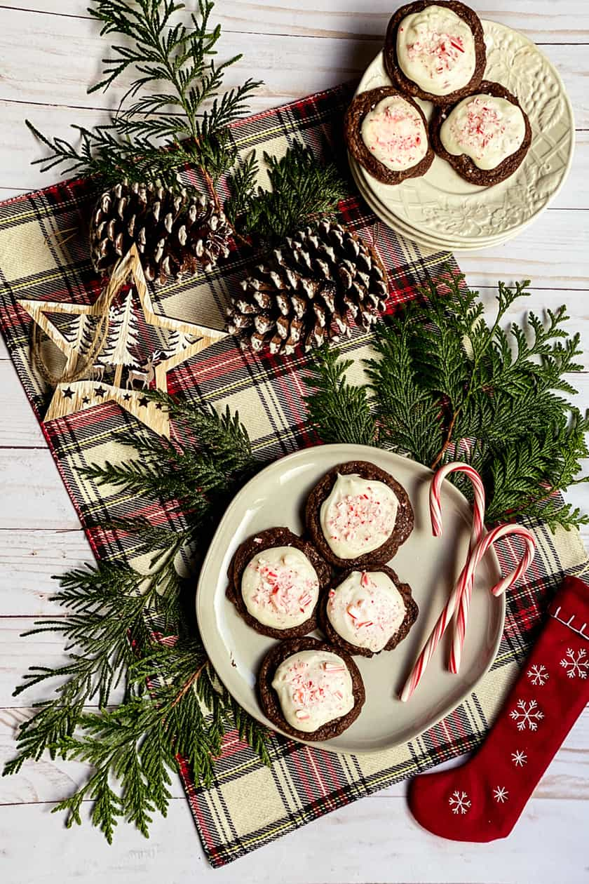 Cookies and Candy Canes on a Plate with Cedar Bowls and Pine Cones