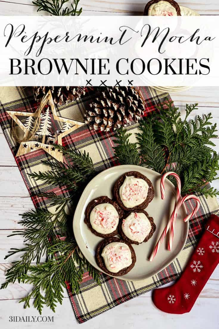 Is there a more Christmassy flavor than peppermint and mocha? Not in my book! These Peppermint Mocha Brownie Cookies are soft and chewy, fudgy with melty chocolate, and addictive with that holiday peppermint flavor. Peppermint Mocha Brownie Cookies | 31Daily.com #peppermint #peppermintmocha #mocha #chocolate #browniecookies #brownies #cookies #christmascookies #holidaycookies #31Daily