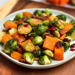 Maple Glazed Roasted Roasted Brussels Sprouts and Butternut Squash