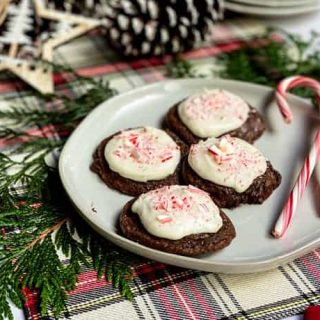 Closeup Peppermint Mocha Brownie Cookies with Candy Canes