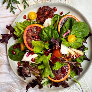 Winter Greens Salad with Pomegranate and Blood Oranges