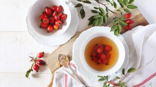 Top view of tea with rose hips