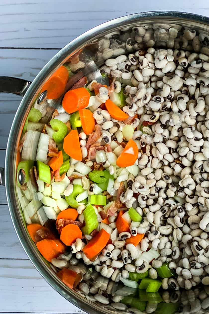 Uncooked Black Eyed Peas in a Pot