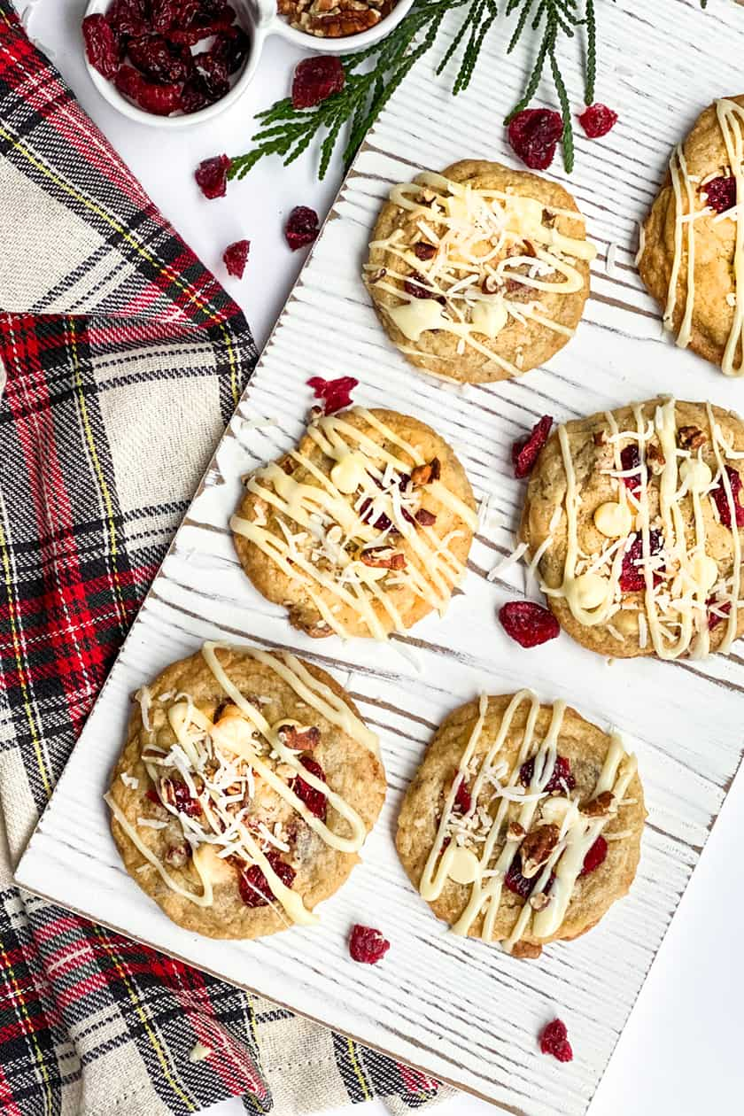 Overhead view of Cranberry White Chocolate Cookies