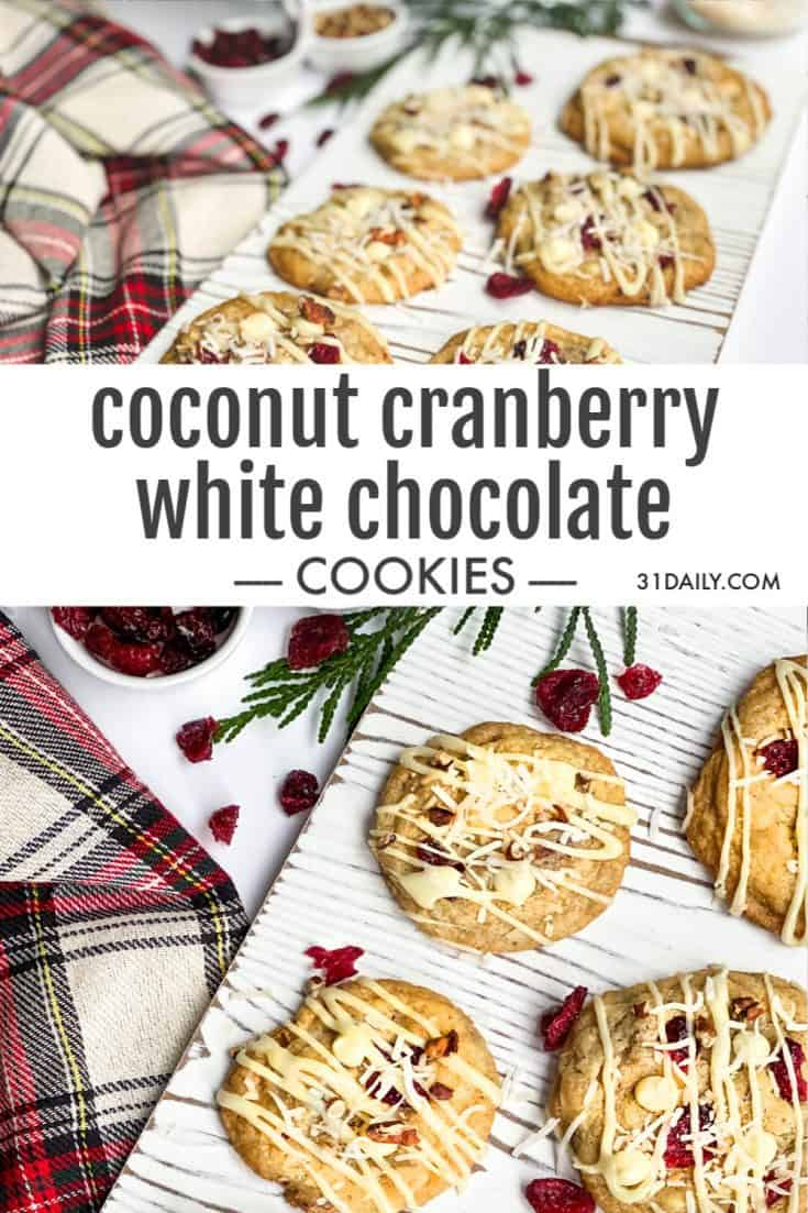 These Coconut Cranberry White Chocolate Cookies are chewy and soft. Warmly spiced with cinnamon and cardamom, and crunchy with toasted pecans. Coconut Cranberry White Chocolate Cookies | 31Daily.com #christmas #holiday #holidaycookies #christmascookies #cranberries #31Daily #easyrecipes