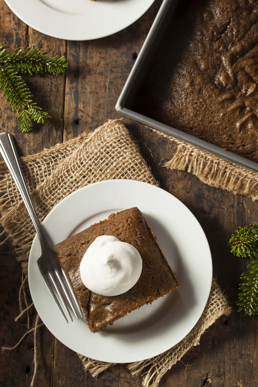 Top View of Gingerbread Cake Slice with Pan
