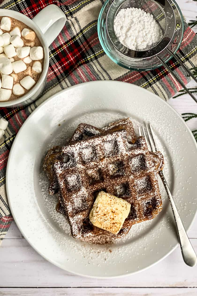 Top View of Gingerbread Waffles with Powdered Sugar