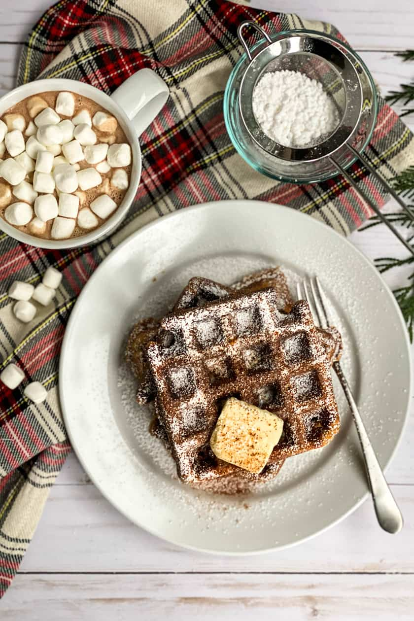 Top View of Gingerbread Waffle on a White Plate