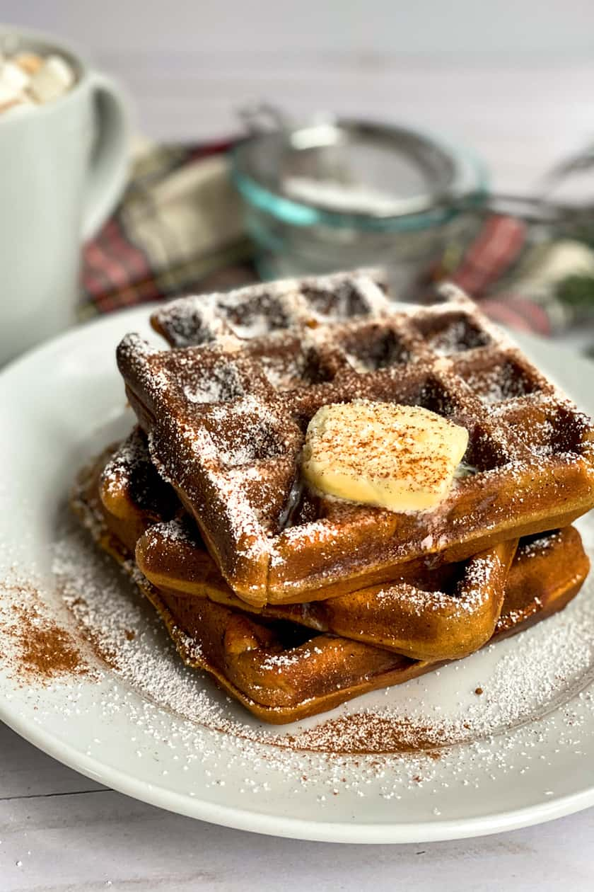Stacked Gingerbread Waffles with Melting Butter
