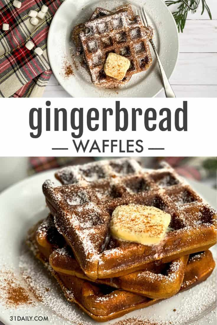 Festive and robustly flavored Gingerbread Waffles are the perfect Christmas morning breakfast. A treat that will live on in the memories of those you love. Holiday Gingerbread Waffles Recipe | 31Daily.com #gingerbread #waffles #holiday #christmas #31Daily