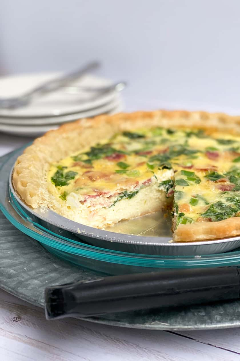 Bake Make Ahead Quiche with Slice Missing