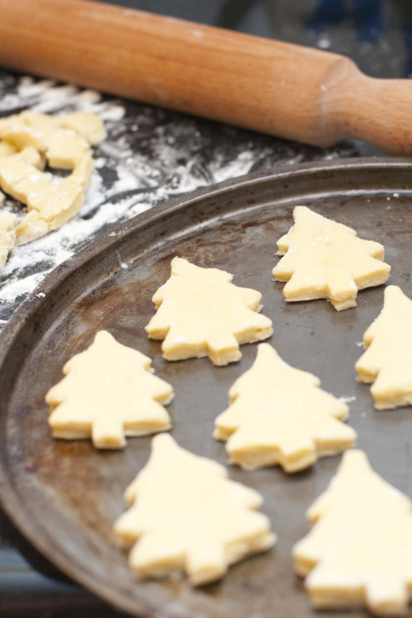 Christmas Tree Shaped Sugar Cookie Cutouts