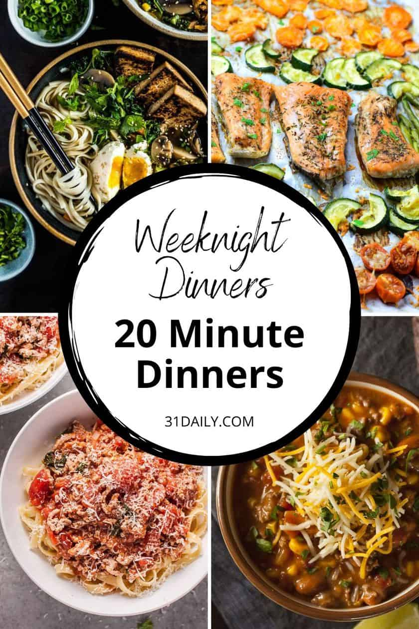 Pinterest Pin for 20 Minute Dinners