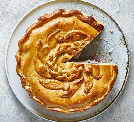 Next level turkey & ham pie