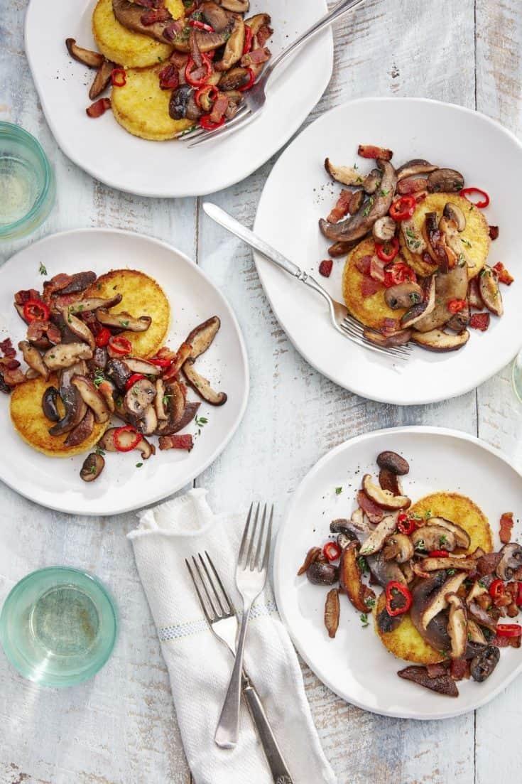 Best Polenta Cakes With Sautéed Mushrooms