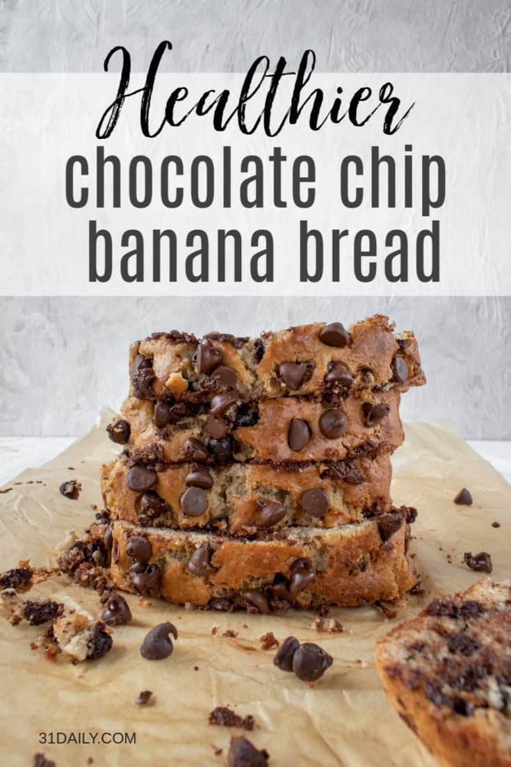 This Chocolate Chip Banana Bread recipe is moist and tender and homey and delicious with melty chocolate and fresh bananas with a hint of maple cinnamon. Healthier Chocolate Chip Banana Bread | 31Daily.com #quickbread #bananabread #chocolatechips #comfortfood #31Daily
