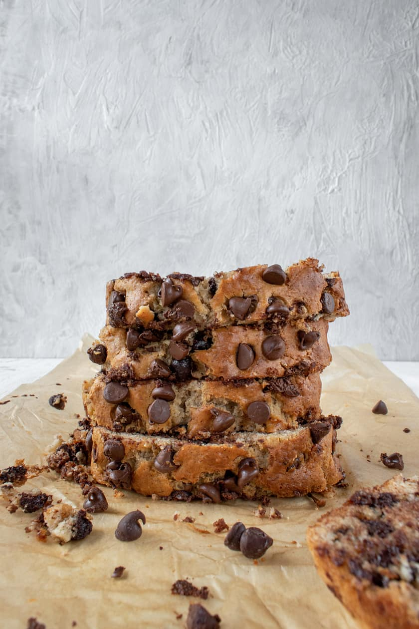 Stacked Slices of Chocolate Chip Banana Bread