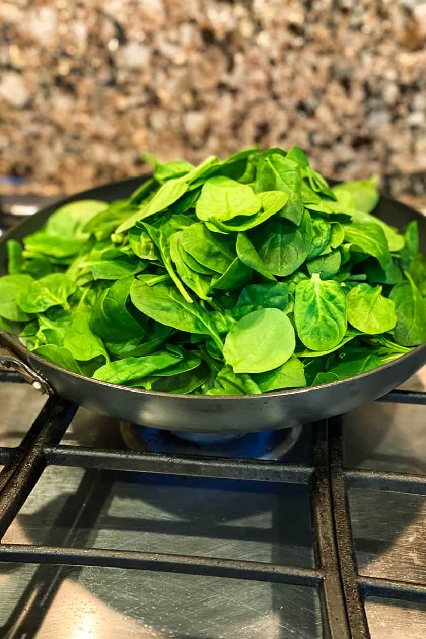 Raw Spinach in a Skillet