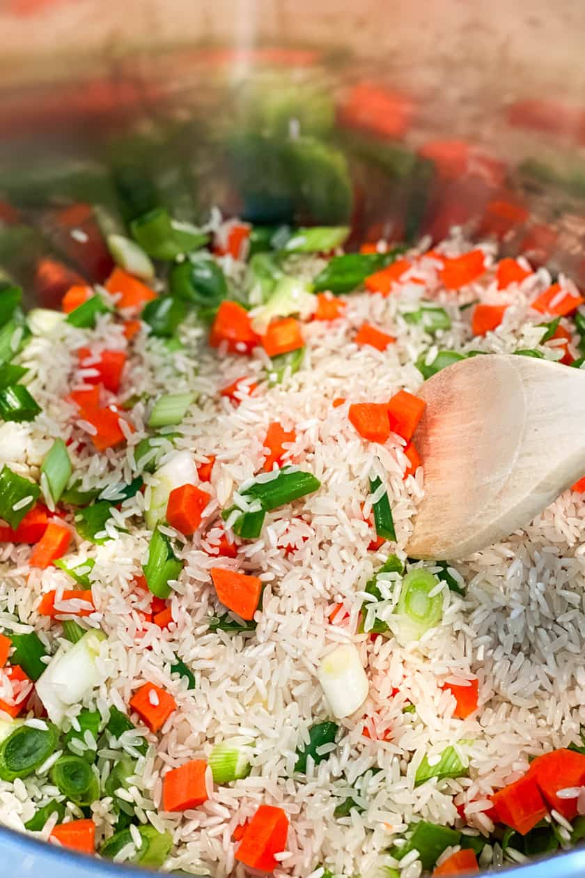 Mexican Rice sauteing in the Instant Pot