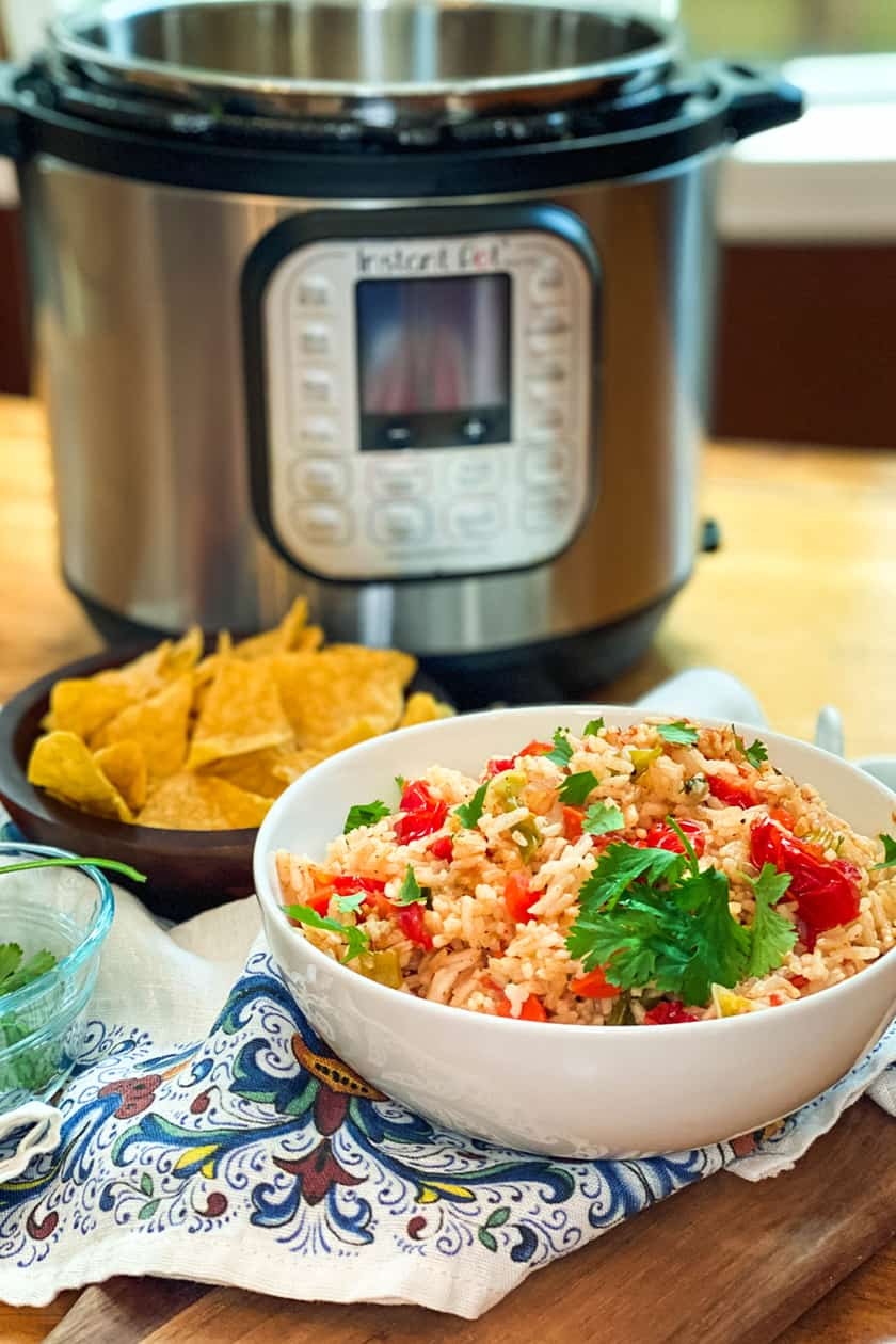 View of Instant Pot and Mexican Rice