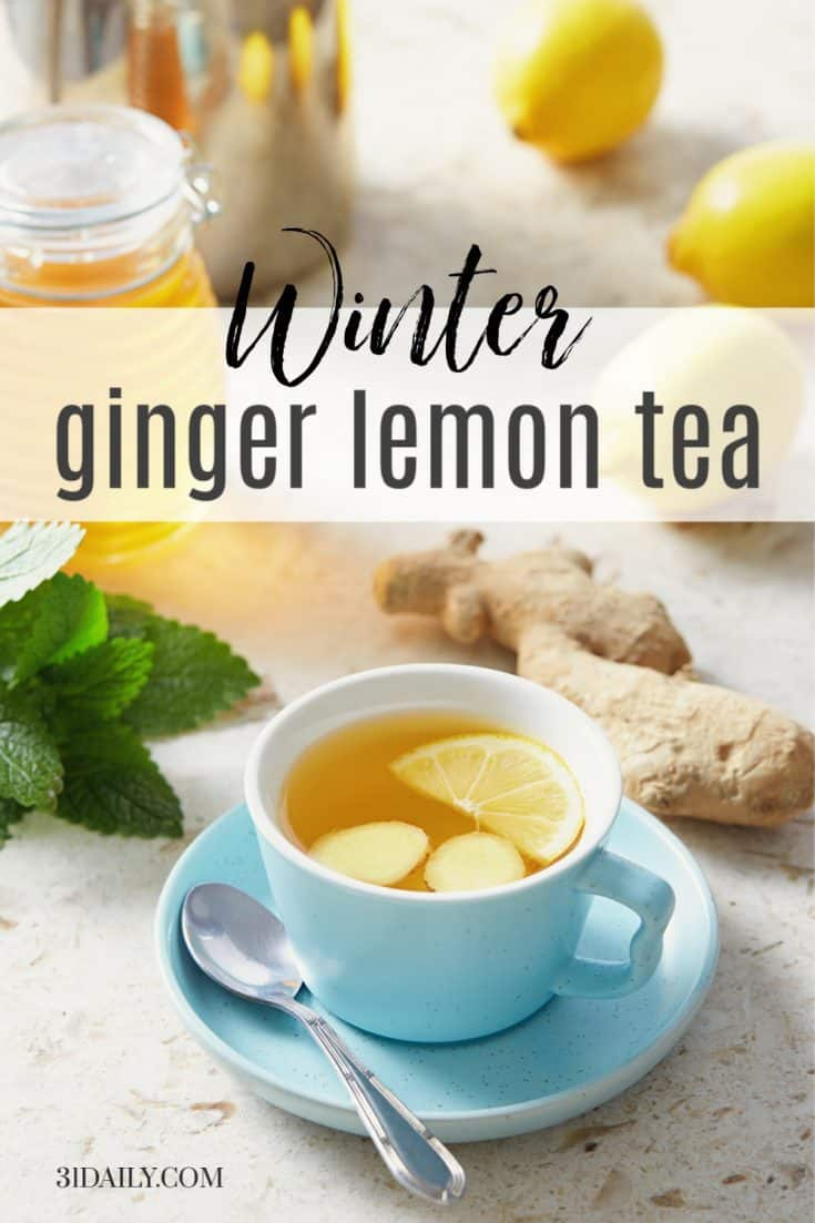 Fresh Lemon Ginger Tea is a perfect winter tea. With high levels of Vitamin C and magnesium, it not only boosts immunity but reduces stress, heals, and soothes. Soothing Fresh Lemon Ginger Tea | 31Daily.com #afternoontea #tea #ginger #lemon #beverage #winter #healthy #immunity #31Daily