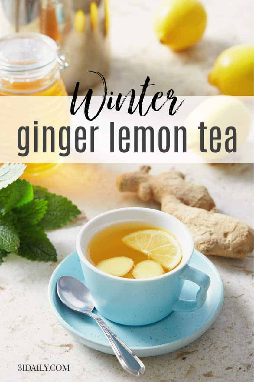 PInterest Pin Fresh Lemon Ginger Tea