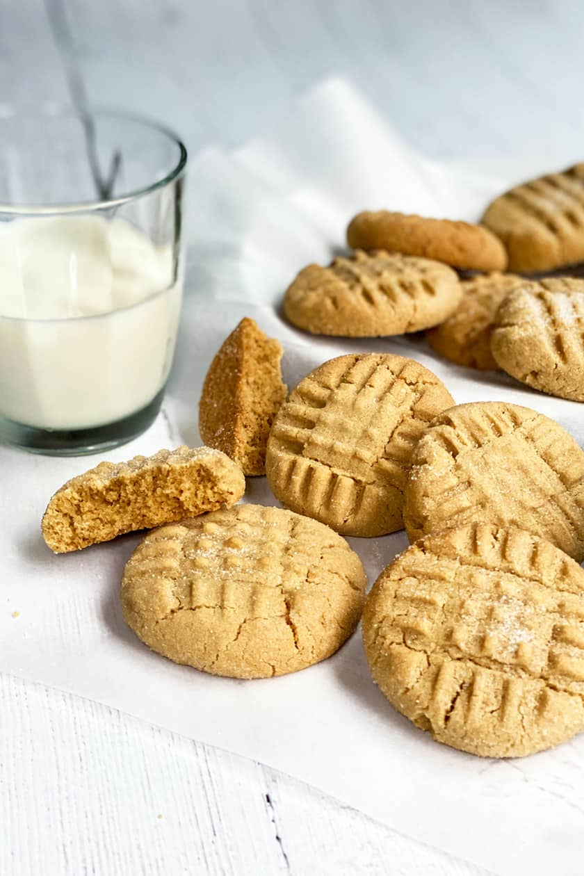 Closeup of Peanut Butter Cookies with a Bite Missing